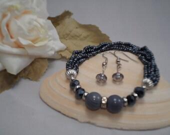 Stretch Bracelet, Beaded Stretch Bracelet, Multi Strand Bracelet, Grey and Black Beads, Free Earrings