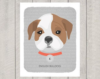 English Bulldog - Dog Nursery Art Print - Custom