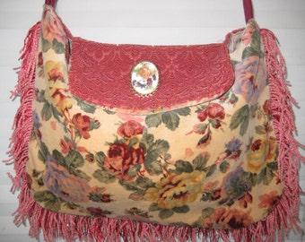 Velvet floral bags and purses, vintage fabric gypsy bag, bohemian bag, crossbody bag