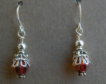 Silver and Red Magma Swarovski Crystal Earrings