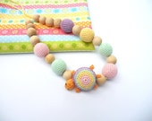 Baby Girl Boy Nursing Necklace with Turtle - Pastel Colors  Natural Crochet Teething Toy - Breastfeeding Jewelry for New Mom Under 25