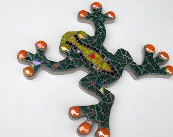 Mosaic Frog Outdoor Garden Decoration, Ornament, Plaque, wall hanging, patio gift, fun, bespoke, ooak,uk, yard art, toad