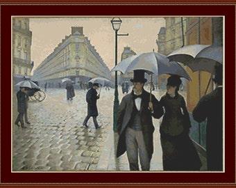 Paris, Rainy Weather Cross Stitch Pattern
