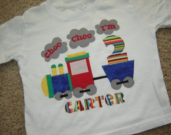 Personalized Train Birthday Onesie/Shirt - Choo Choo - Boy
