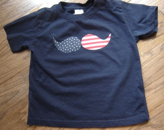 Patriotic Mustache Shirt - Stars and Stripes - Navy Blue - Independence Day - July 4th