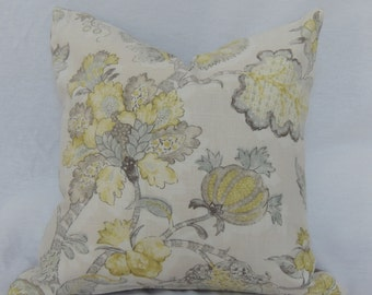 20x20 Floral Chartreuse Gray and Tan Pillow Cover