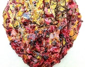 original wood and plaster Heart, painted wall sculpture, red and yellow gold, grapevine, reclaimed wood