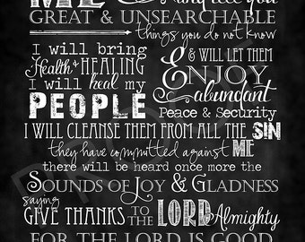 Scripture Art - paraphrase of Jeremiah 33 Chalkboard Style
