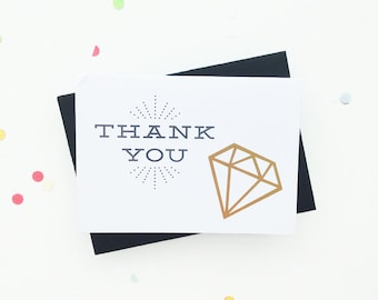 set of 5 gold foil thank you cards - geometric diamond foil - wedding thank you card set