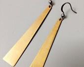 Raw Brass Geometric Drop Earrings