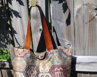 Elegant Fabric Tote Bag w/ Brown Leather Straps
