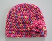 Pink Hat, Pink Baby Hat, Crochet Hat, Crochet Baby Hat, Newborn Hat, Newborn Girl Hat, Baby Girl Hat, Baby Girl, Newborn Girl, Photo Props