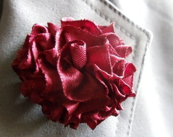 Burgundy Lapel Pin Brooch Pin Flower Pin Boutonniere