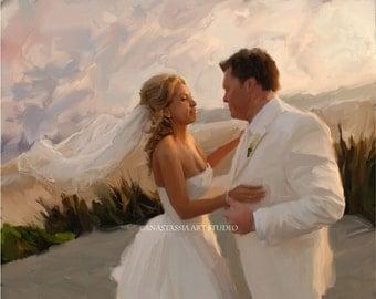 Custom Wedding Portrait from Photo - Fine Art Commission Painting 16x20