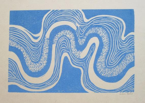 riverbend - linocut print - 8x10 / printmaking / block print / blue river / nature art / line & pattern / sky blue / hand printed / nature