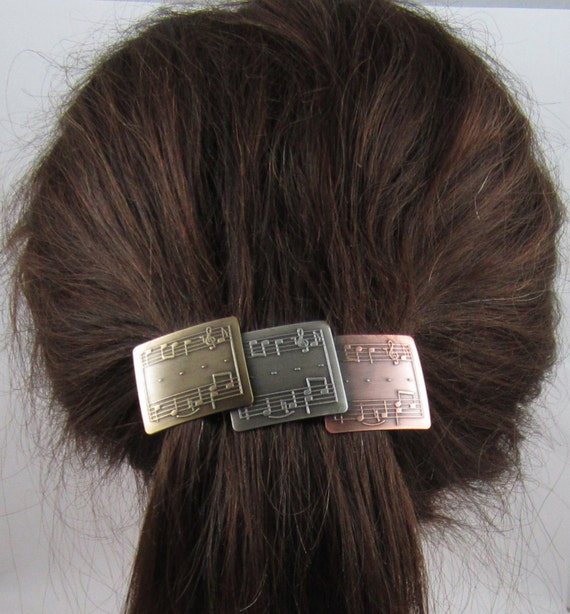 Music Lovers Genuine French Barrette 80mm Brass Copper Sterling Silver Ox