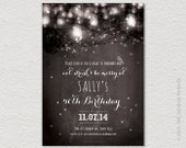 PRINTABLE Fairy Lights 40th, 30th, 21st Birthday Invitation. String lights, Garden party.