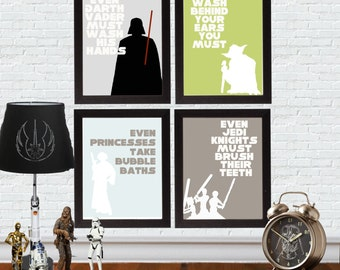INSTANT Download, Star Wars Bathroom Art, Set of Four Printables, No. 32