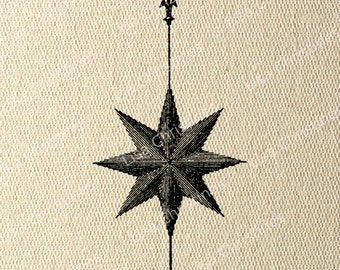 Compass Steampunk Instant Download Transfer Image for Iron On / 10