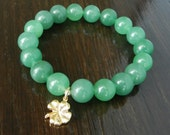 Lucky Aventurine Bracelet with Gold Vermeil Four Leaf Clover Charm, Reiki Infused, Heart Chakra Gemstone