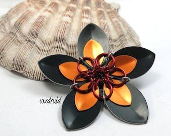 Scale Flower Hair Clip, Handmade Black and Orange Flower Hair Piece, Hair Flower Clip