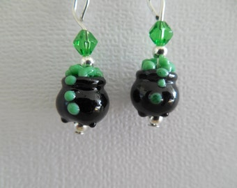 Witch's Cauldron Lamp Worked Earrings
