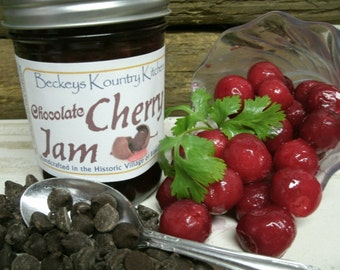 Jam.  Chocolate Cherry jam. Handcrafted, Deliciously Sweet, jam and jelly