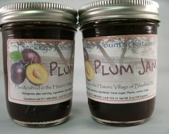 Two Jars Homemade Plum Jam by Beckeys Kountry Kitchen jam jelly fruit spread preserves