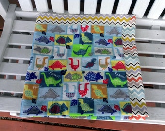 """SALE Boys Dinosaurs Self Binding Receiving Blanket. Double layer of flannel 38""""x38"""" Multi Colored Chevron Blankie, Receiving Blanket,Swaddle"""
