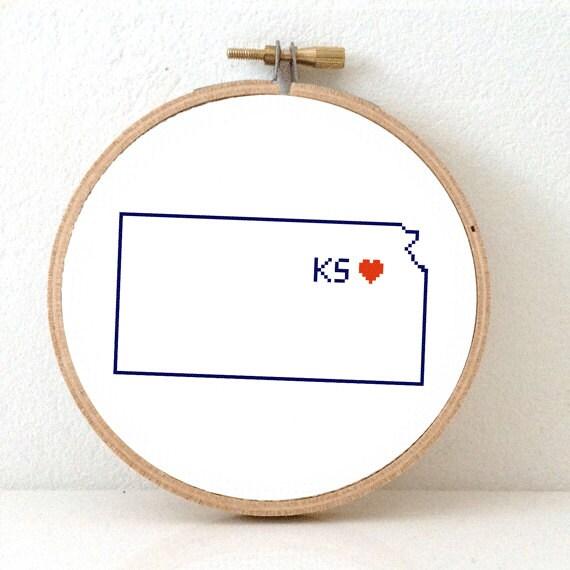 Kansas Map Cross Stitch Pattern Kansas Ornament Pattern With