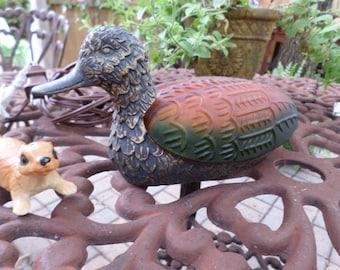 Vintage Sadak-Glass and Metal Mallard Duck/Water Fowl/Night Light/Dresser/Table-Decorative