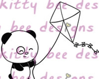Kite Fun Panda Digital Stamp