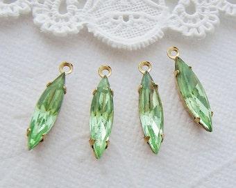 Vintage Peridot Green 15x4mm Navette Set Glass Stone Drops Rhinestone Earring Dangles Brass or Antique Silver Settings– 4