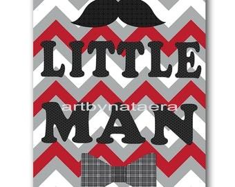 Little man Baby Boy Nursery art print Children Wall Art Baby Room Decor Kids Art Nursery Decor Boy Baby Wall Art red gray little man