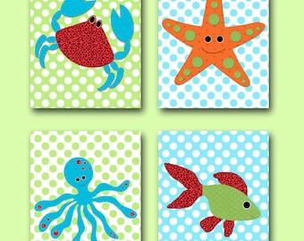 Kids wall art Starfish Nursery Fish Nursery Octopus Nursery Crab Nursery Baby Boy Nursery Baby Room Decor Nursery Print set of 4 blue