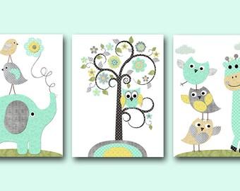 Kids wall art owl nursery giraffe nursery elephant by for Leinwandbilder kinderzimmer