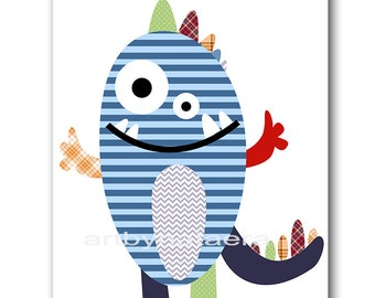 Nursery Print Kids Wall Art Monster Nursery Childrens Art Print Kids Art Baby Boy Nursery Art Kids Room Decor Boy Art Red Blue Baby Gift