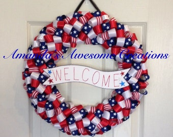 Welcome Patriotic Wreath