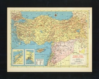 Vintage Map Turkey Syria Lebanon and Cyprus From 1953 Original