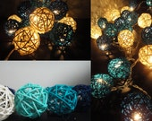 Battery Powered LED Bulbs 20 Bluesky Rattan Balls Fairy String Lights Party Patio Wedding Floor Hanging Gift Wall Bedroom Home Decor 4m