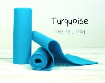 "100 Percent Wool Felt in color TURQUOISE - 5"" X 36"" Wool Felt Roll - 100% Wool Felt - Blue Wool Felt"