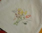 Flour sack Dishtowel - Hand Embroidered - Little Mermaid playing the harp