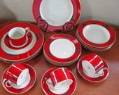 Rare Vintage Mikasa Negora-Red 5 piece place setting Near Mint 4 available
