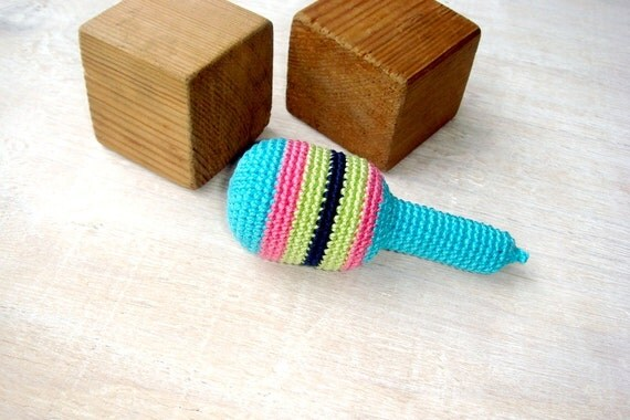 Rattle Baby toy,Blue maracas,Crochet toy,Waldorf toy,Striped,First baby toy,Teething rattle,Teething toy,musical instrument