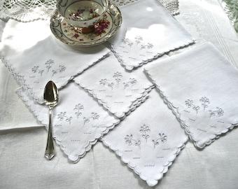 Vintage Linens - Set of 6 - White Napkins - Embroidered Linen Napkins - Antique Linen Napkins - Formal Whitework Napkins - Scalloped Edges