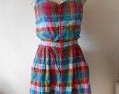 vintage 80s plaid madras cotton dress small