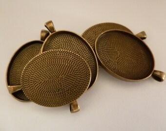 10 x  Oval Antique Bronze pendant trays- blank bezel cabochon setting