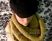 LIX PERLE Mui Mui Cowl Scarf: Soft Grey Circular Hood Tube in Mustard Yellow, Dark Ivory, Taupe and Teal