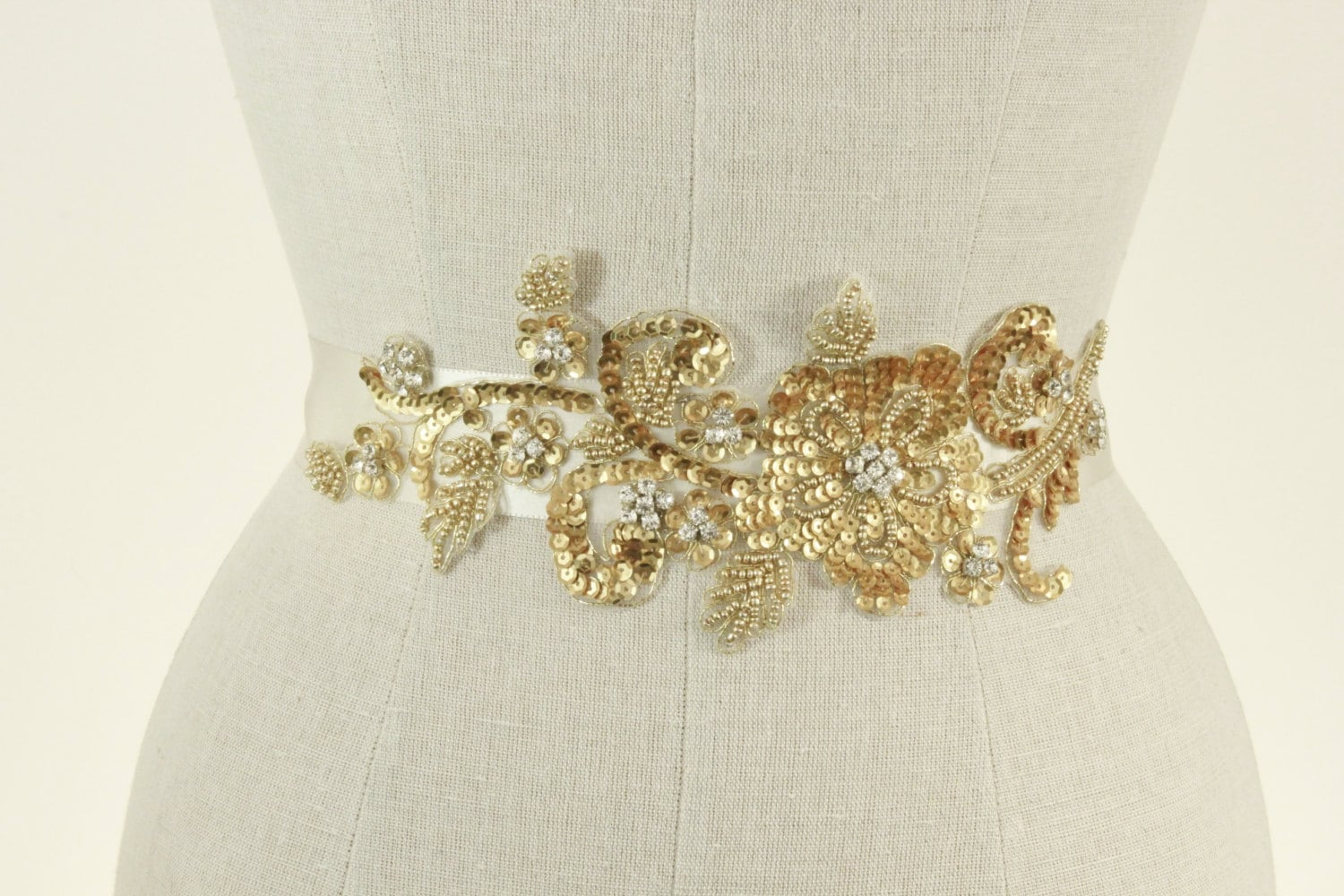 gold wedding sash beaded wedding belt floral by