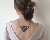 Embroidered Triangle Pendant, Statement Necklace, Wedding Necklace, Brown Beads and Sequin, Beaded Jewelry, Beadwork, ReddApple, Gift Ideas